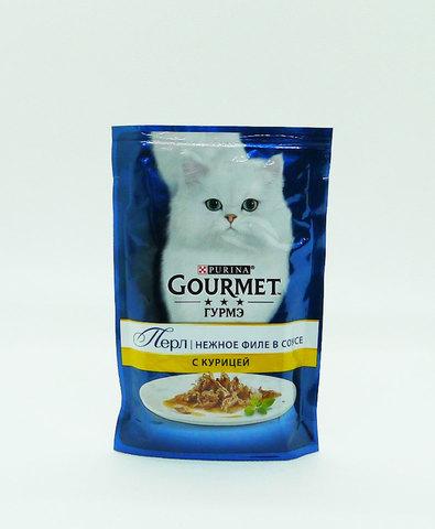 Gourmet Перл пауч для взрослых кошек кусочки в подливке (курица) 85 г