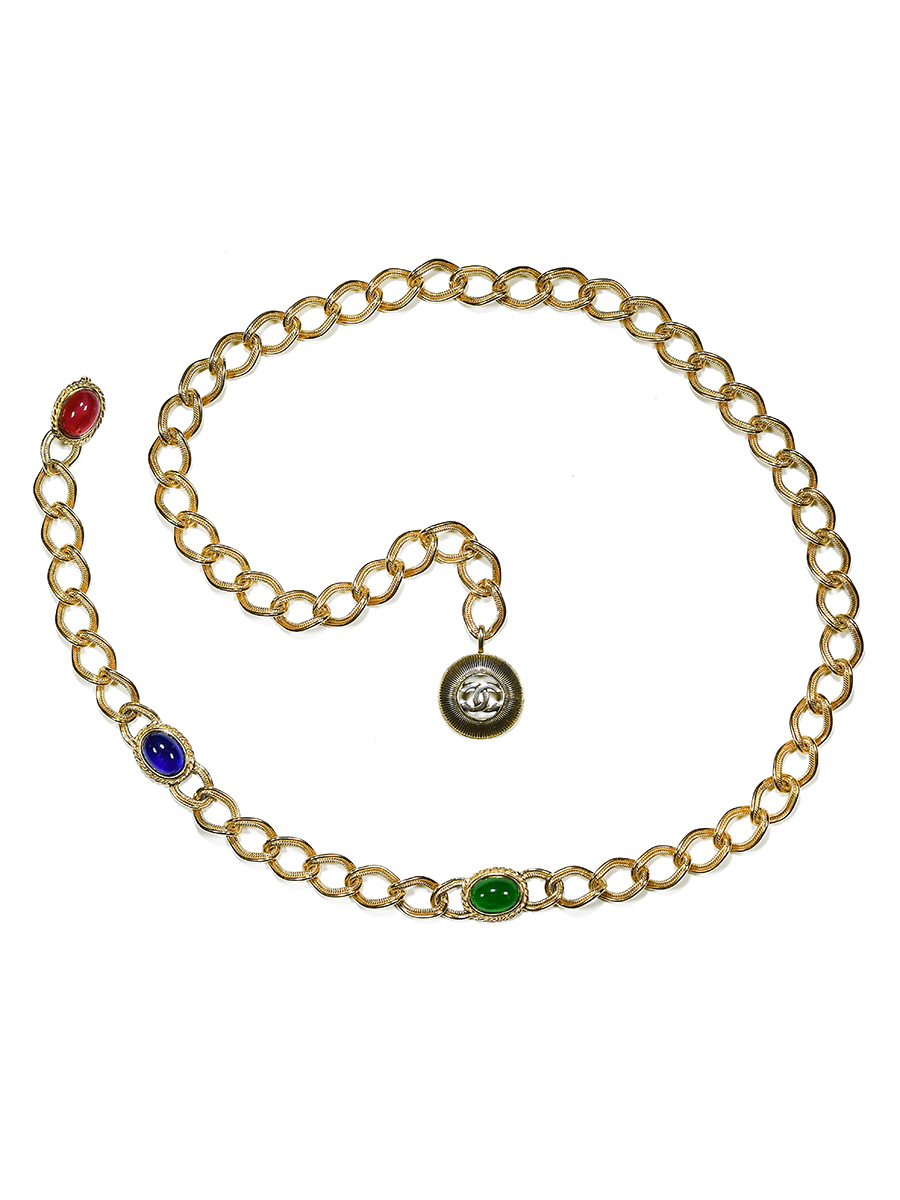 Стильный пояс-колье Chanel со стеклом Gripoix 1971-1980 г.