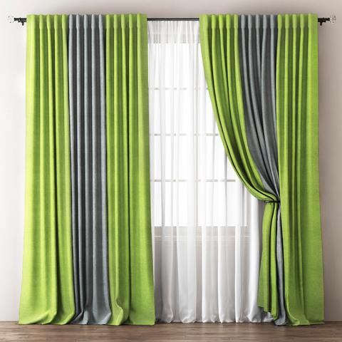 Комплект штор с подхватами Карин зелено-серый