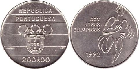 200 эскудо Португалия Олимпиада в Барселоне. 1992 год. UNC
