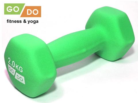 Гантель GO DO в виниловой матовой неопреновой оболочке.  Вес 2 кг. (Зеленый), пара (33551)