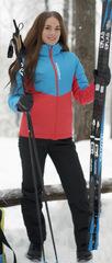 Женский утеплённый прогулочный лыжный костюм Nordski Montana Blue-Red-Black