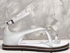 Кожаные сандалии женские босоножки с закрытой пяткой Evromoda 454-402 White.