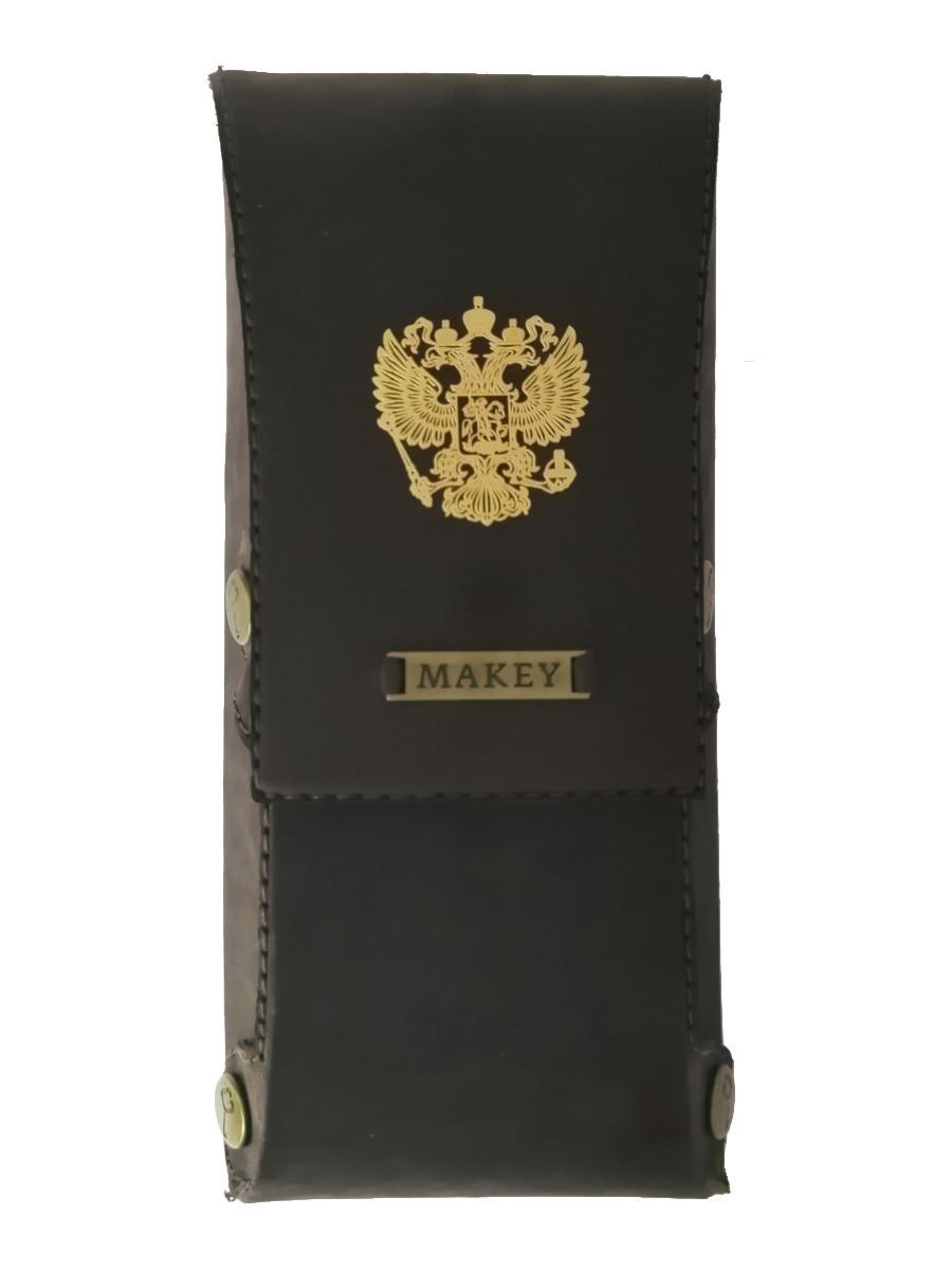 Футляр для очков «Герб РФ золото». Цвет коричневый