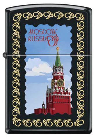 Зажигалка Zippo Московский кремль, латунь/сталь с покрытием Black Matte, чёрная, 36x12x56 мм123