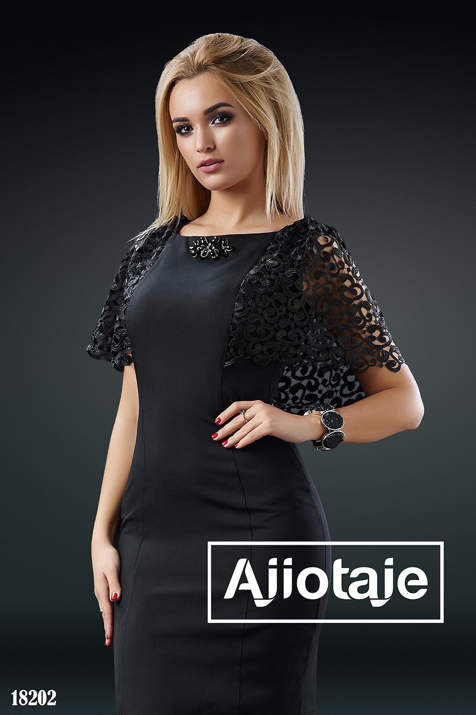 Платье миди черного с брошью