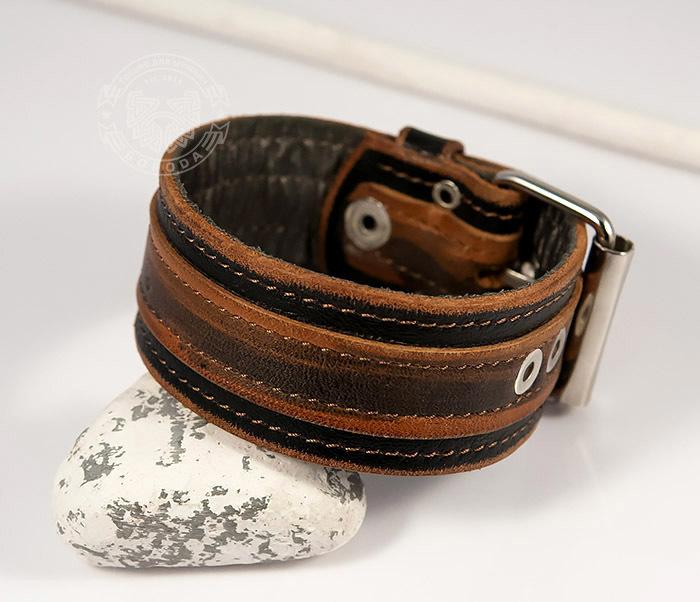 BL445-2 Оригинальный мужской браслет из натуральной кожи ручной работы фото 07