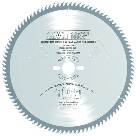 Пильный диск СМТ для цветных металлов и PVC 216X30 X2.8/2.2 -6° TCG Z80