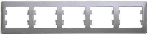 Рамка на 5 постов, горизонтальная. Цвет Перламутр. Schneider Electric Glossa. GSL000605