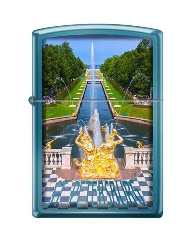 Зажигалка Zippo Петергофский фонтан, латунь/сталь с покрытием Sapphire™, синяя, 36x12x56 мм123