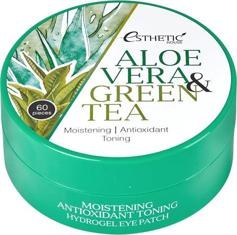 ESTHETIC HOUSE Гидрогелевые патчи для глаз АЛОЭ/ЗЕЛЕНЫЙ ЧАЙ Aloe Vera&Green Tea Hydrogel Eye Patch, 60 шт