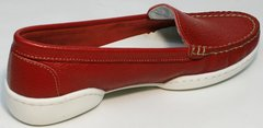 Кожаные летние туфли кэжуал стиль для женщин Evromoda 042.5710 WRed.