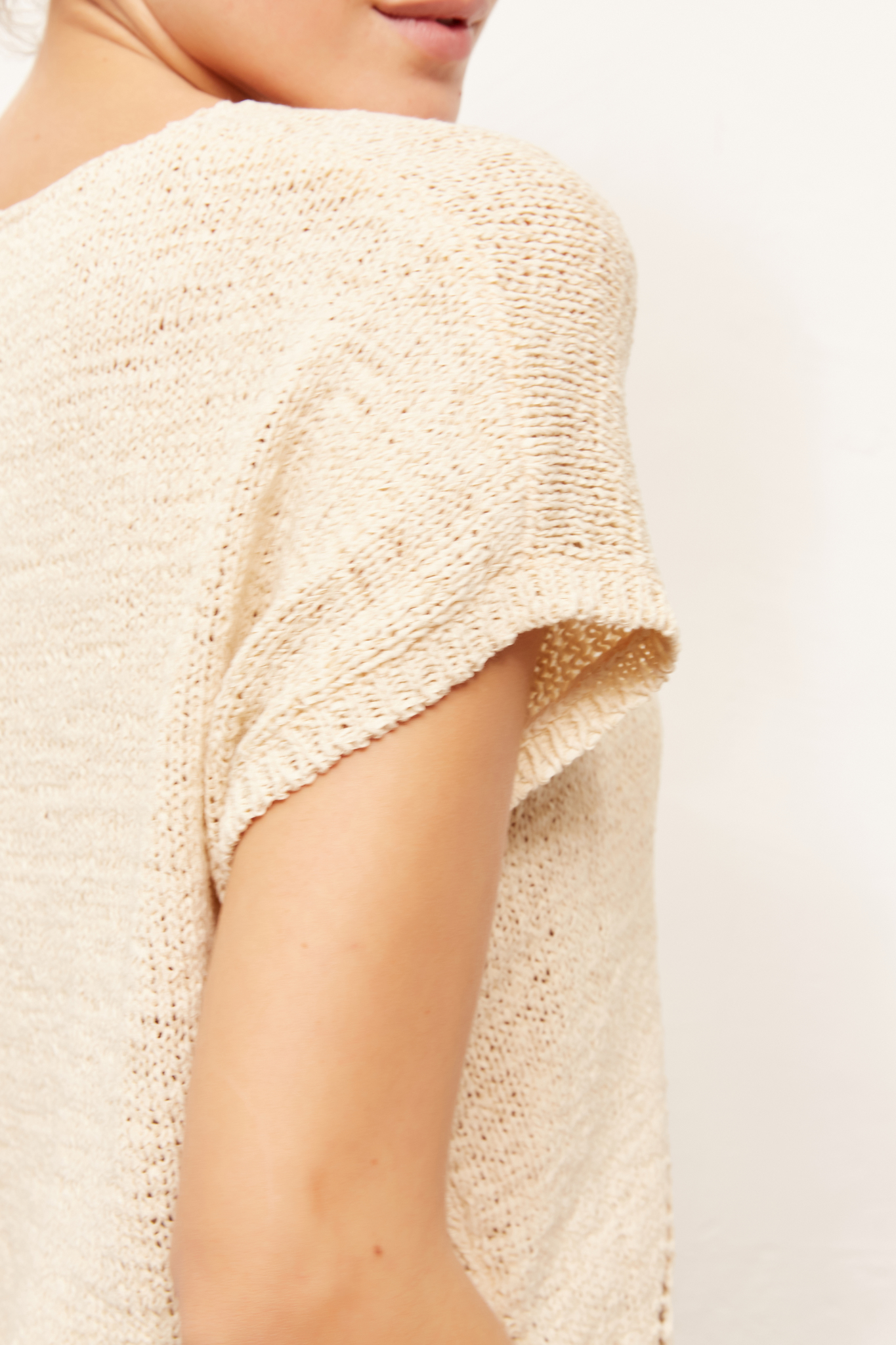 ELISE - Пуловер с узором в стиле макраме с короткими рукавами