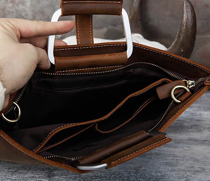 BAG440-2 Мужской портфель с ремнем на плечо из толстой кожи фото 07