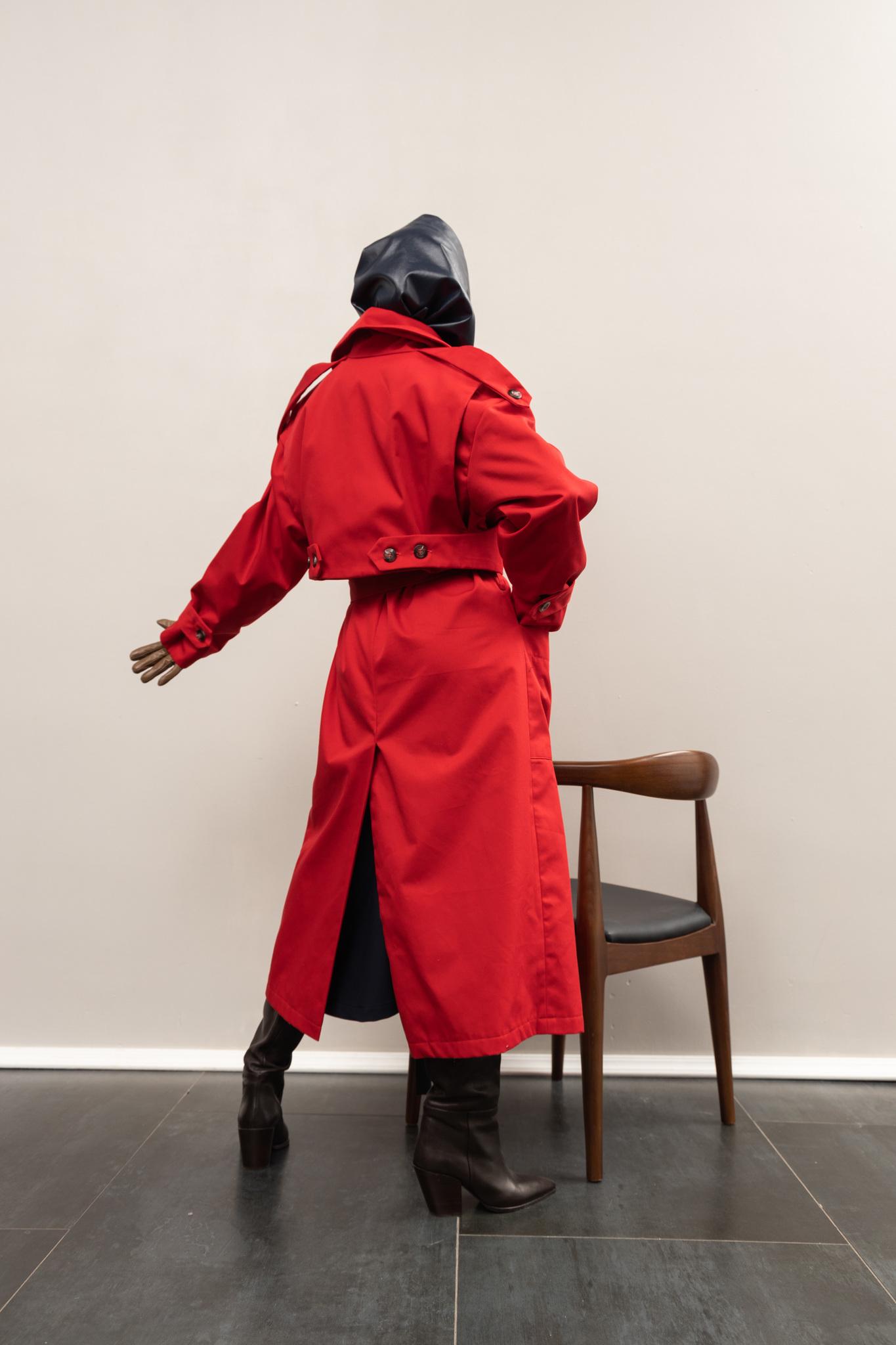 Тренч красный со съемной жилеткой