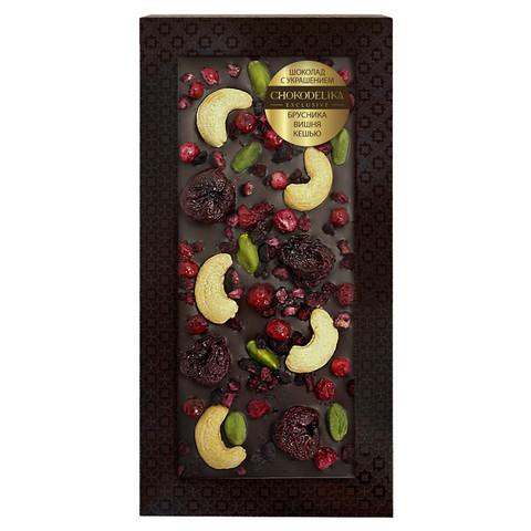 Шоколад темный с украшением брусника, вишня, кешью