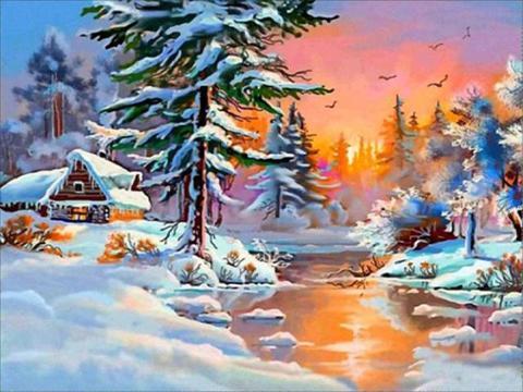Алмазная Мозаика 30x40 Зимняя деревушка
