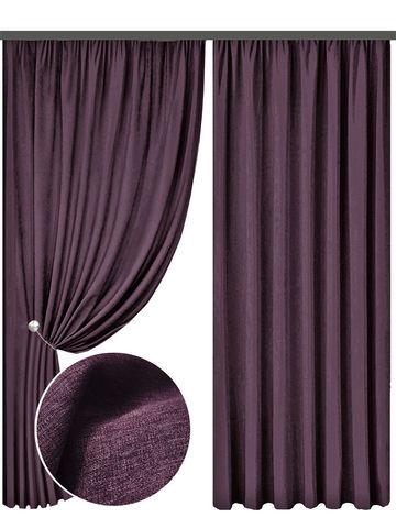 Портьеры блэкаут лен - фиолетовый. Ш-100/150/200 см., В-250/270 см. В упаковке - 2 шт.