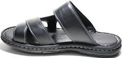 Сандалии шлепанцы мужские кожаные. Черные босоножки шлепки на лето Pandew Black.
