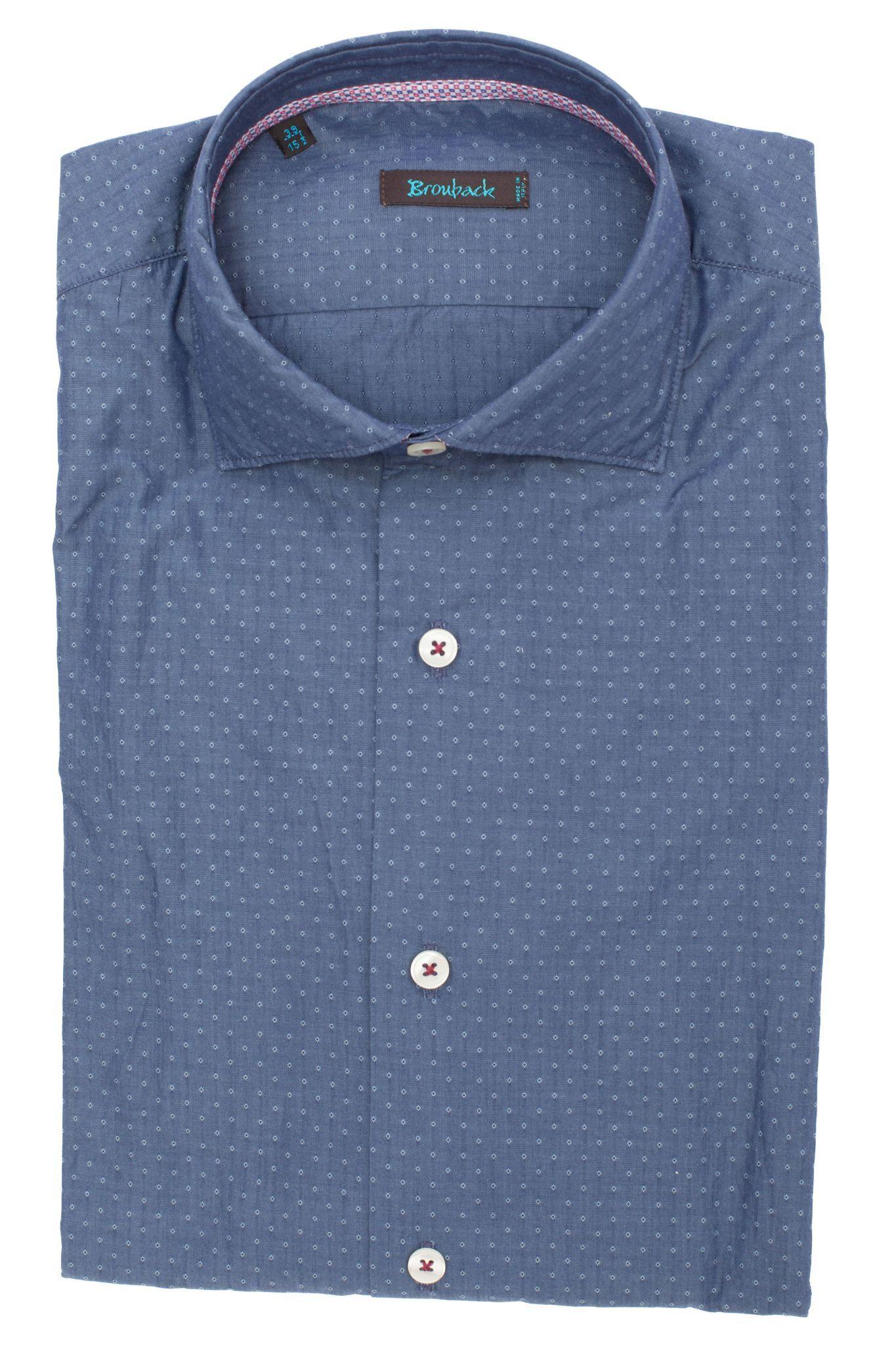 Синяя рубашка с мелким геометрическим узором