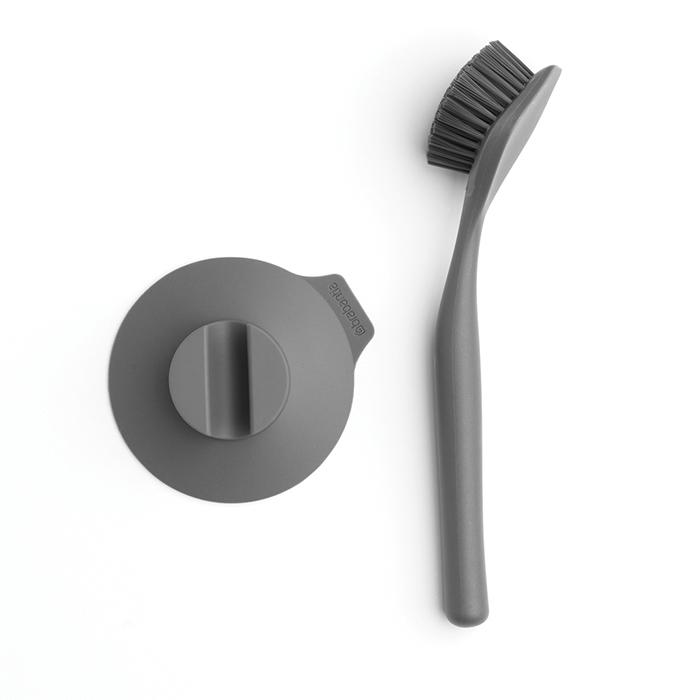 Щетка для мытья посуды с держателем на присоске,  Темно-серый, арт. 117589 - фото 1