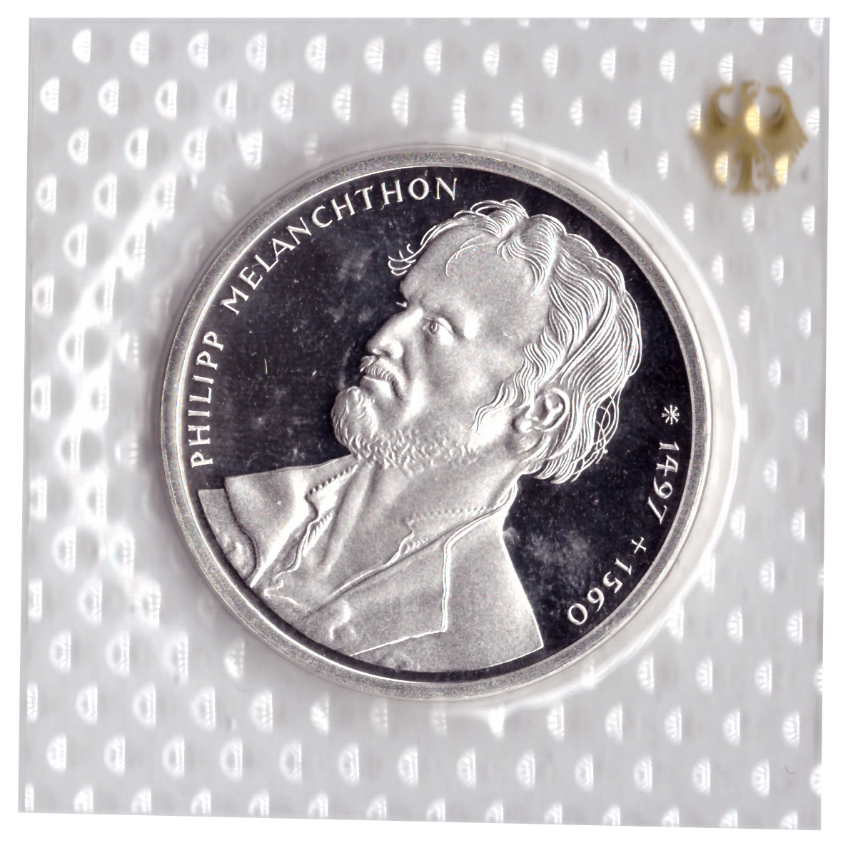 10 марок 1997 год (G) 500 лет со дня рождения Филиппа Меланхтона, Германия. PROOF в родной запайке