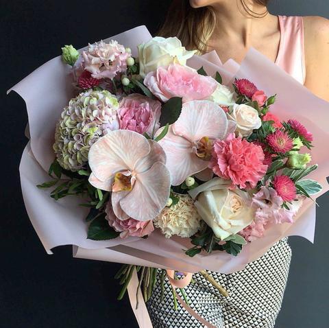 Букет с орхидеей Венецианские кружева #156419