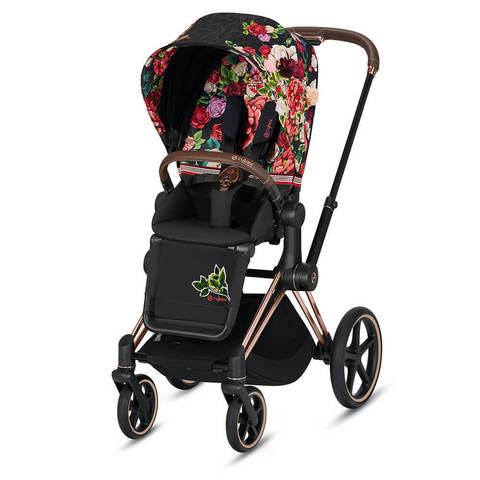 Прогулочная коляска Cybex Priam III FE Spring Blossom Dark шасси Rosegold