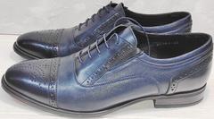 Синие оксфорды туфли под костюм мужские Ikoc 3805-4 Ash Blue Leather.