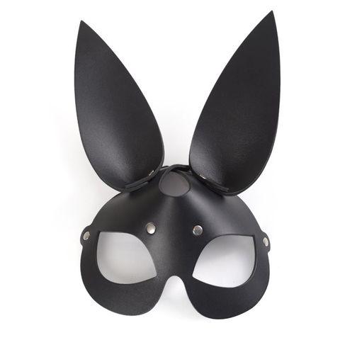Чёрная кожаная маска с длинными ушками