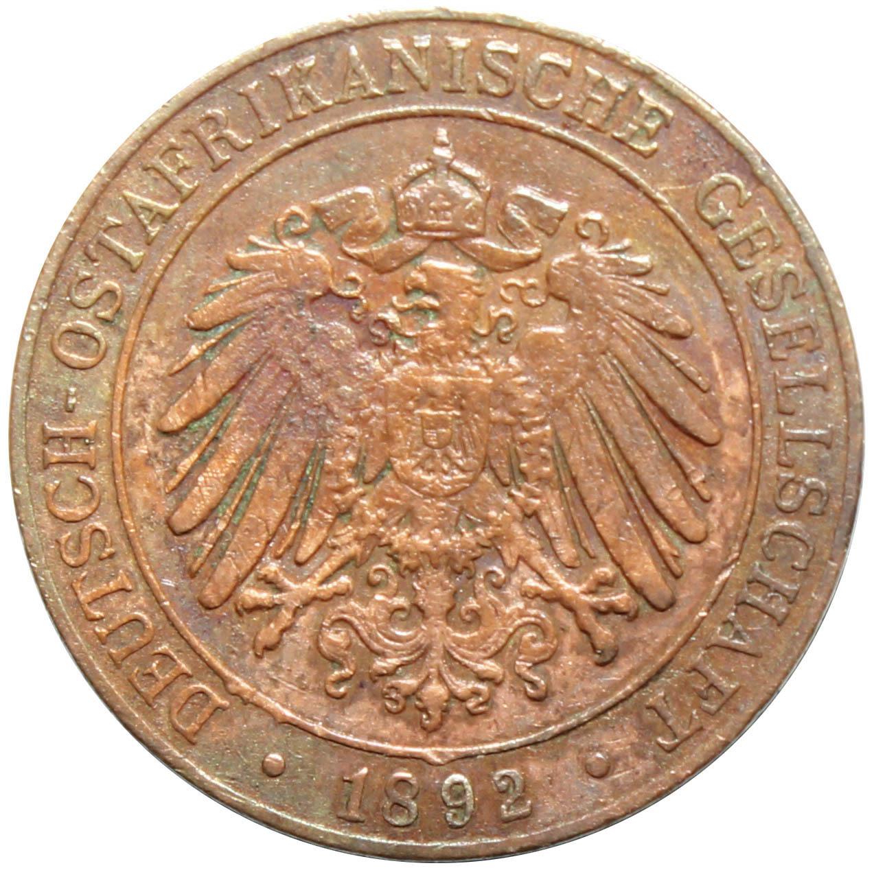1 песа 1892 год Немецкая Африка VF