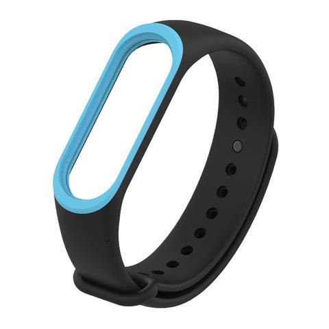 Силиконовый ремешок для Xiaomi Mi Band 3 (черный с голубым)