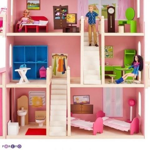 Деревянный дом Барби Paremo Нежность 28 предметов мебели 2 лестницы гараж PD316-01