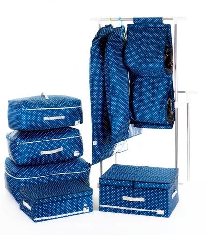 Чехол для длинной одежды с прозрачной половиной, 60*120 см (темно-синий в горошек)