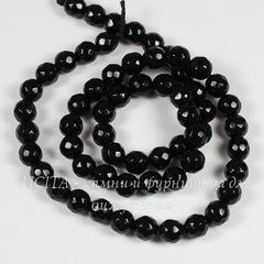 Бусина Агат черный (Категория A), шарик с огранкой, 6 мм, нить