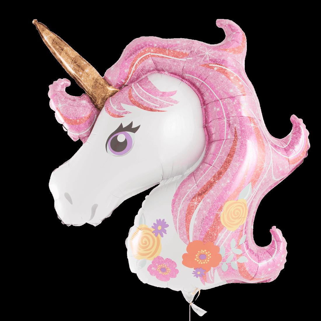 Фигура головы Единорога с розовой гривой 80 см