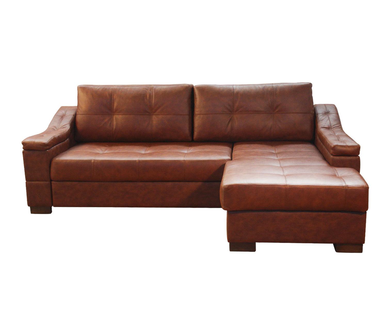 Угловой диван Макс П5 2д1я, натуральная кожа + кожзам