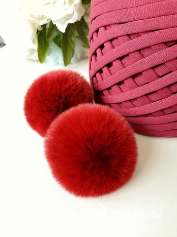 Помпон из натурального меха, Кролик, 5-6 см, цвет Бордо, 2 штуки