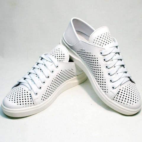 Летние кеды кожаные белые. Женские низкие кеды с перфорацией ZiKo-Wite