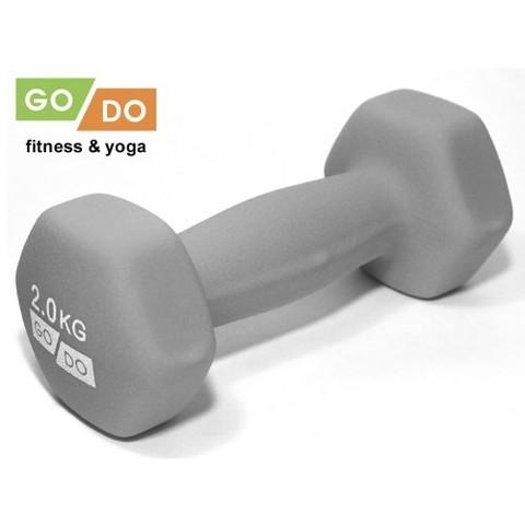 Гантель GO DO в виниловой матовой (неопреновой) оболочке.  Вес 2 кг. (Серый), пара (Спр) (к 36517)