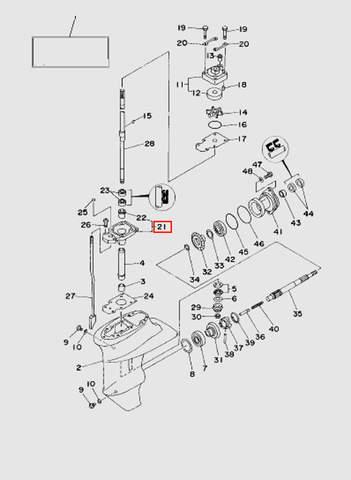 Корпус подшипника   для лодочного мотора T15, OTH 9,9 SEA-PRO (16-21)