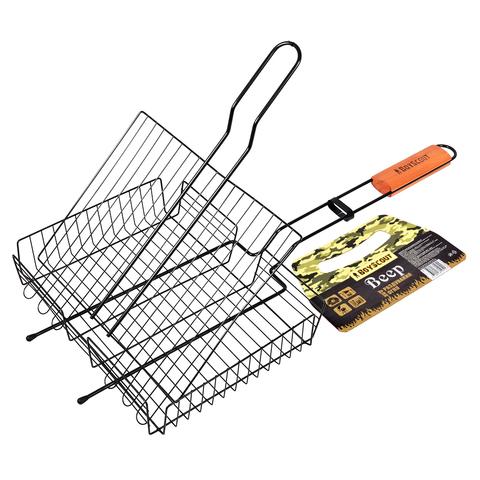 Решетка-гриль универсальная с антипригарным покрытием, картонный веер в ПОДАРОК, 57(+5)x30x25x5,5 cм