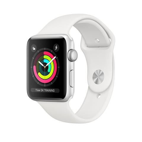 Apple Watch Series 3 GPS, 42 мм, алюминий серебристого цвета, спортивный ремешок белого цвета