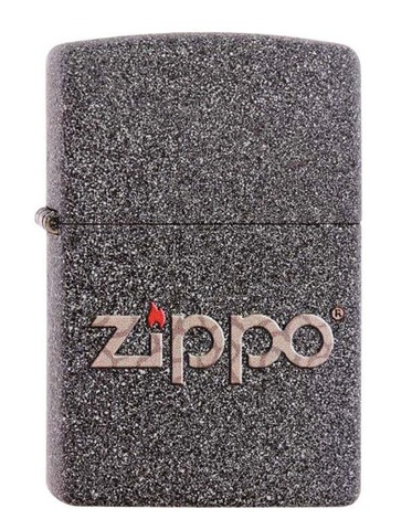 Зажигалка Zippo, латунь с покрытием Iron Stone, серая с фирменным логотипом, матовая, 36x12x56 мм123