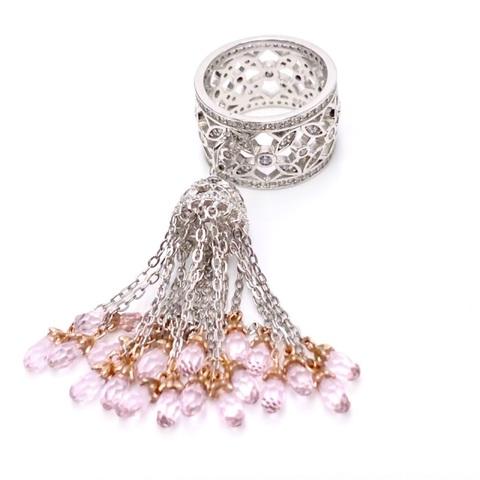 4801- Кольцо из серебра с кисточкой с розовыми цирконами огранки бриолет