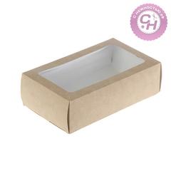 Коробка прямоугольная однотонная, с окном, 18*11*5,5 см, 1 шт.