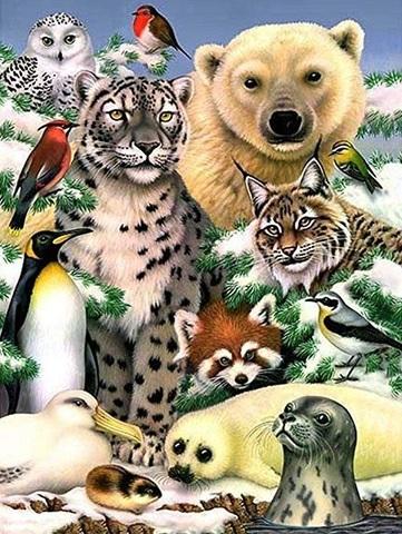 Алмазная Мозаика 30x40 Зимний животный мир