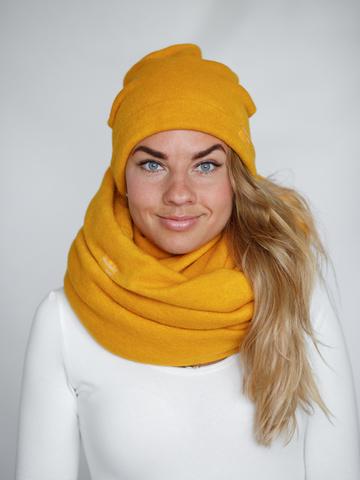 Шапка желтая из турецкой шерсти