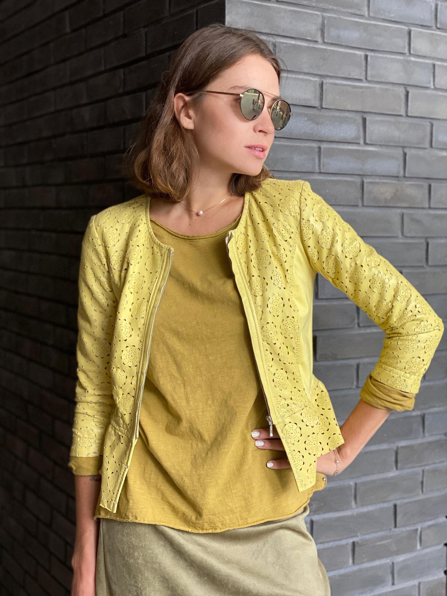 Куртка кожаная , IMPERIAL, 13025728 (лимонный)