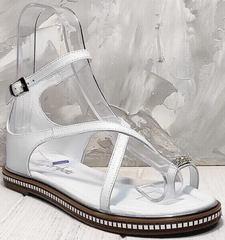 Белые сандали женские босоножки натуральная кожа Evromoda 454-402 White.